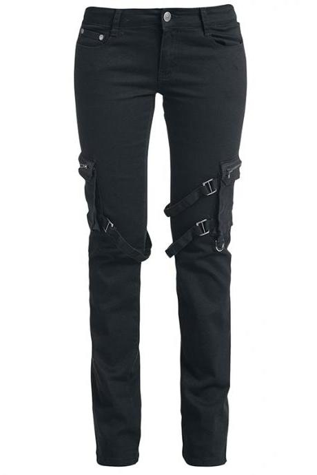 Ladies' Black Casual Pants With Size Pocket