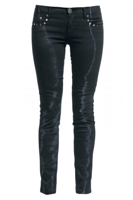 Ladies' Punk Style Black Casual Trousers