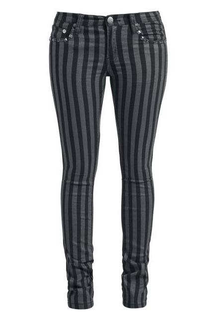 Ladies' Stripe Pu Rivet Casual Pants