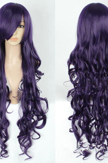 Fantasia Sango 4 Expansion Pack Zicheng Deep Purple Mix Black 80CM Long Wave Cosplay Wig