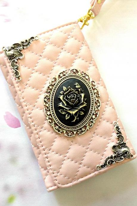 Flower iphone 6 6s 4.7 leather wallet case, Vintage iphone 6 6s plus leather wallet case, iphone SE, 5c, 5, 5s leather wallet case, samsung galaxy S4, S5, S6, S6 Edge, S7, S7 Edge, Note 3, Note 4, Note 5, leather wallet case, pink weave leather wallet case, item no.75