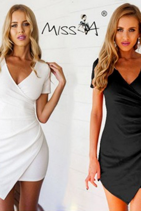 V-neck package buttocks pencil dress