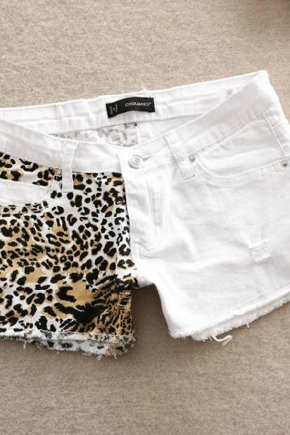Stitching Slim Hip Sexy Leopard Small Hole