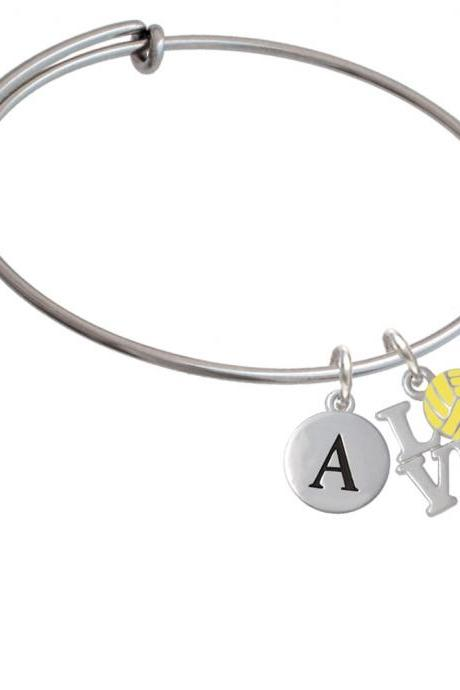 Love with Water Polo Ball Initial Charm Expandable Bangle Bracelet BR-C4887-PebbleInitial-F2084