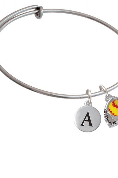 Small Enamel Softball with Glove Initial Charm Expandable Bangle Bracelet BR-C5370-PebbleInitial-F2084