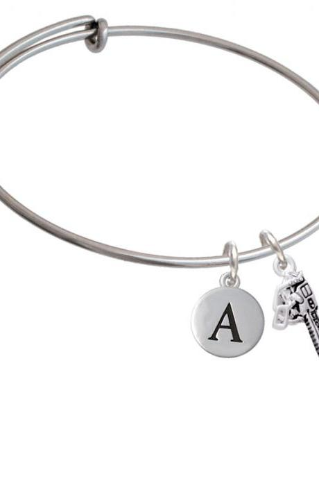 Chainsaw Initial Charm Expandable Bangle Bracelet BR-C5532-PebbleInitial-F2084