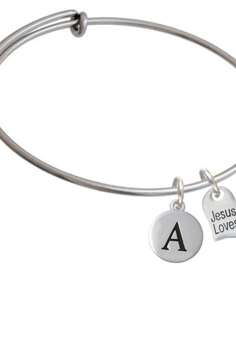 Small Jesus Loves You Heart Initial Charm Expandable Bangle Bracelet BR-C5726-PebbleInitial-F2084