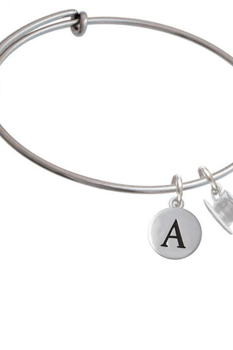 Tea Cup Initial Charm Expandable Bangle Bracelet BR-C6010-PebbleInitial-F2084