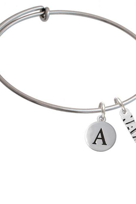 Navy Initial Charm Expandable Bangle Bracelet BR-C6026-PebbleInitial-F2084
