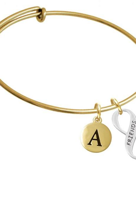 Friends Infinity Sign Gold Tone Initial Charm Expandable Bangle Bracelet BR-C6055-PebbleInitial-F2084-GP