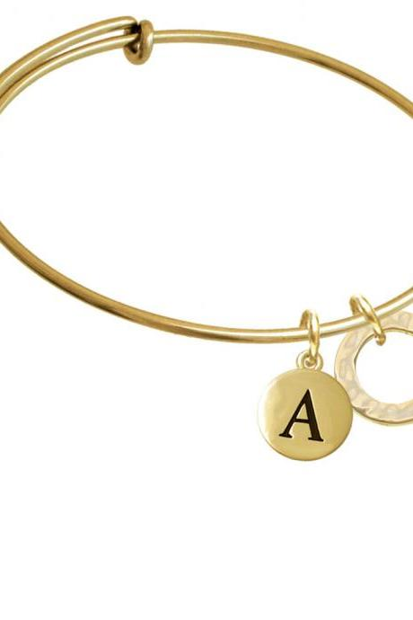 Gold Tone Hammered Karma Ring Gold Tone Initial Charm Expandable Bangle Bracelet BR-C6020-PebbleInitial-F2084-GP