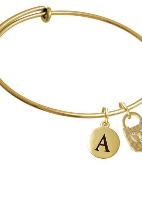 Gold Tone Hammered Lock with Heart Crystals Gold Tone Initial Charm Expandable Bangle Bracelet BR-C4664-PebbleInitial-F2084-GP
