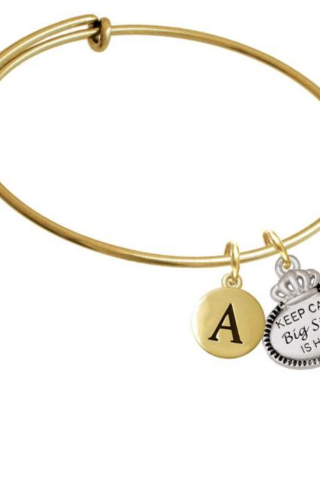 Keep Calm Big Sister is Here Gold Tone Initial Charm Expandable Bangle Bracelet BR-C5924-PebbleInitial-F2084-GP