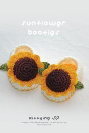 Sunflower Booties Crochet PATTERN (pdf) by kittying