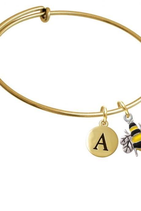 Enamel Bee Gold Tone Initial Charm Expandable Bangle Bracelet BR-C1024-PebbleInitial-F2084-GP