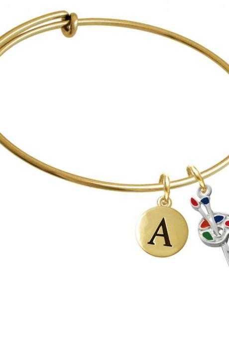 Paint Palette Gold Tone Initial Charm Expandable Bangle Bracelet BR-C1423-PebbleInitial-F2084-GP