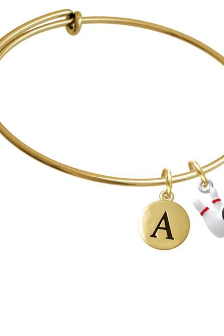 Bowling Pins with Bowling Ball Gold Tone Initial Charm Expandable Bangle Bracelet BR-C2468-PebbleInitial-F2084-GP