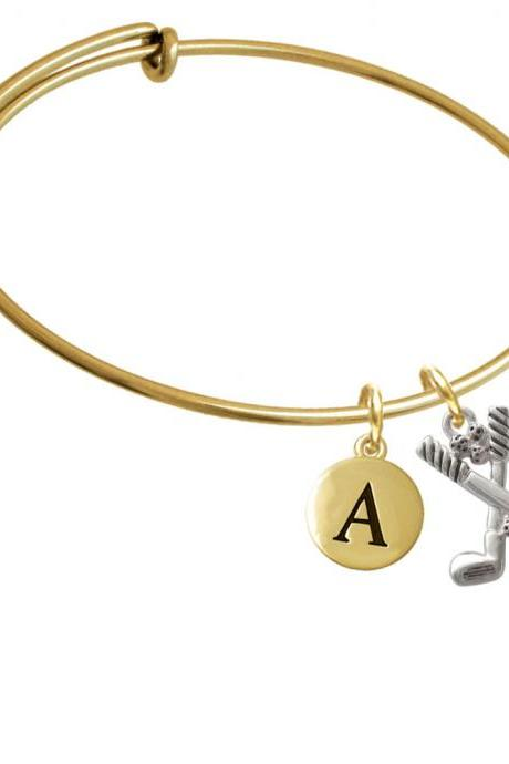 Golf Clubs with Golf Ball Gold Tone Initial Charm Expandable Bangle Bracelet BR-C2496-PebbleInitial-F2084-GP