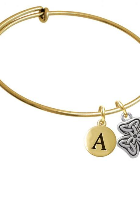 Shamrock with Celtic Knot Gold Tone Initial Charm Expandable Bangle Bracelet BR-C3670-PebbleInitial-F2084-GP