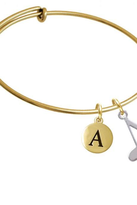 Rounded Eighth Music Note Gold Tone Initial Charm Expandable Bangle Bracelet BR-C4064-PebbleInitial-F2084-GP
