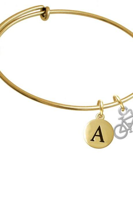 Small Bicycle Gold Tone Initial Charm Expandable Bangle Bracelet BR-C4168-PebbleInitial-F2084-GP