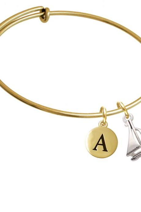 Antiqued Sailboat Gold Tone Initial Charm Expandable Bangle Bracelet BR-C4453-PebbleInitial-F2084-GP