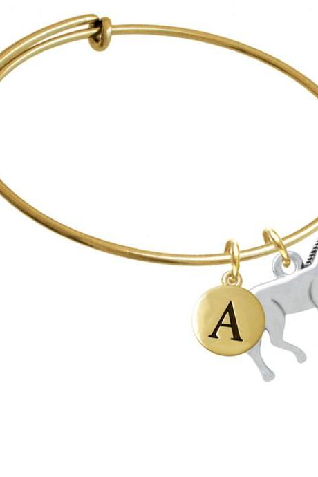Walking Horse Gold Tone Initial Charm Expandable Bangle Bracelet BR-C4504-PebbleInitial-F2084-GP