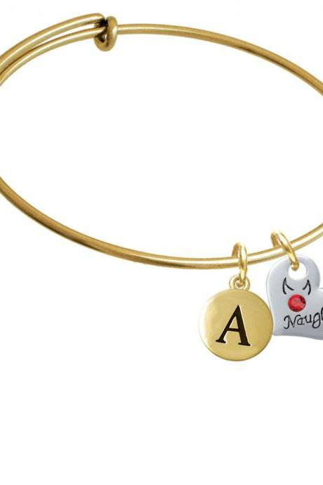 Naughty or Nice Heart with Crystals Gold Tone Initial Charm Expandable Bangle Bracelet BR-C4730-PebbleInitial-F2084-GP