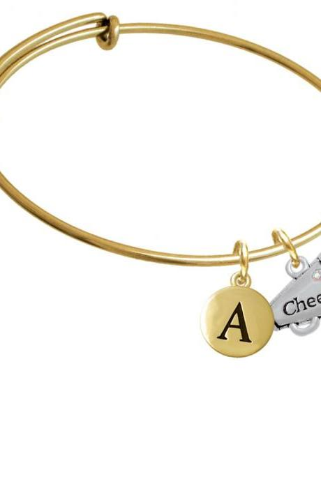 Cheer Megaphone with AB Crystal - 2 Sided Gold Tone Initial Charm Expandable Bangle Bracelet BR-C4833-PebbleInitial-F2084-GP
