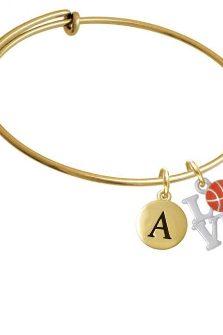 Love with Basketball Gold Tone Initial Charm Expandable Bangle Bracelet BR-C4882-PebbleInitial-F2084-GP
