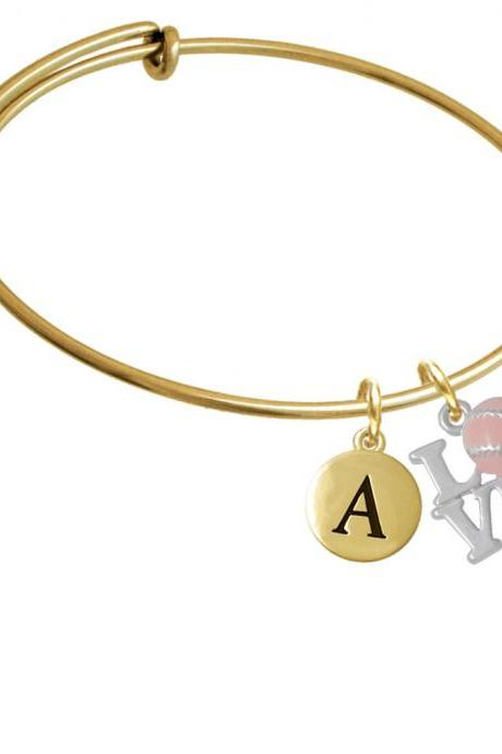 Love with Pink Softball Gold Tone Initial Charm Expandable Bangle Bracelet BR-C4888-PebbleInitial-F2084-GP