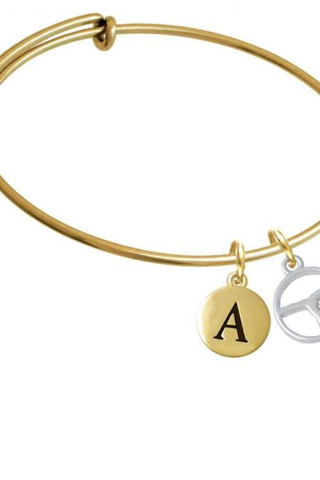 Gymnast Silhouette in 1/2'' Disc Gold Tone Initial Charm Expandable Bangle Bracelet BR-C5180-PebbleInitial-F2084-GP