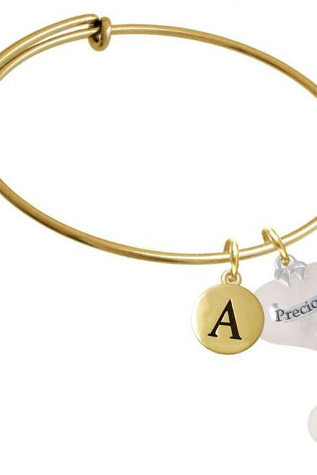 Precious White Heart with Baby Feet Gold Tone Initial Charm Expandable Bangle Bracelet BR-C5185-PebbleInitial-F2084-GP