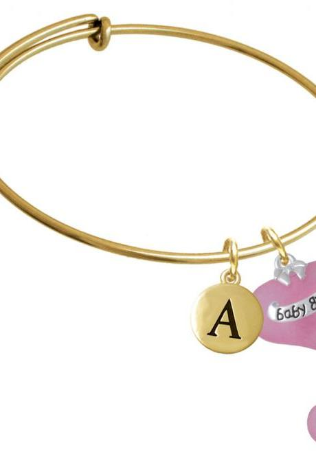 Baby Girl Pink Heart with Baby Feet Gold Tone Initial Charm Expandable Bangle Bracelet BR-C5186-PebbleInitial-F2084-GP