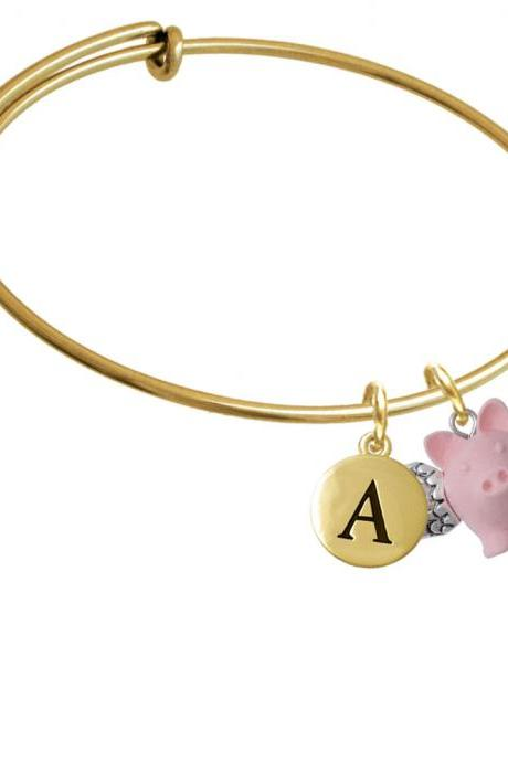Pink Flying Pig with Wings Gold Tone Initial Charm Expandable Bangle Bracelet BR-C5270-PebbleInitial-F2084-GP