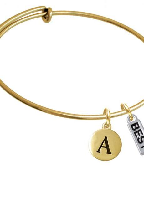 Best Gold Tone Initial Charm Expandable Bangle Bracelet BR-C5275-PebbleInitial-F2084-GP