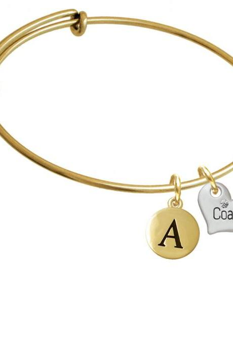 Small ''Coach'' Heart Gold Tone Initial Charm Expandable Bangle Bracelet BR-C5575-PebbleInitial-F2084-GP