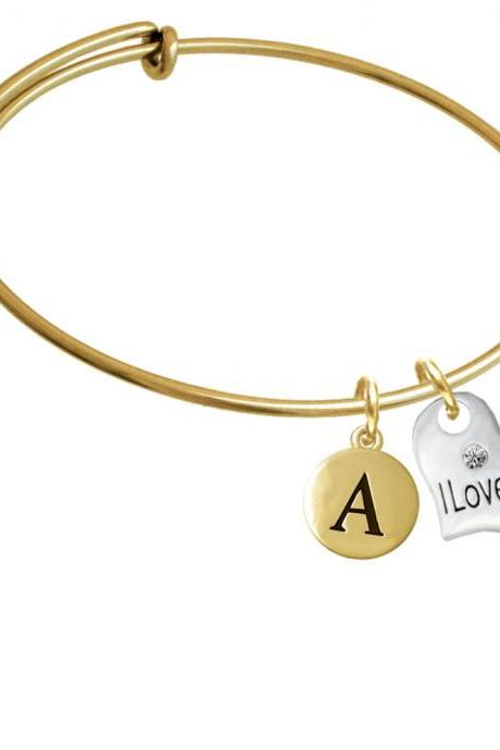 Large I Love You Heart Gold Tone Initial Charm Expandable Bangle Bracelet BR-C5719-PebbleInitial-F2084-GP