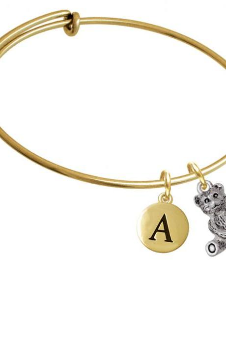 Antiqued Teddy Bear Gold Tone Initial Charm Expandable Bangle Bracelet BR-C5826-PebbleInitial-F2084-GP