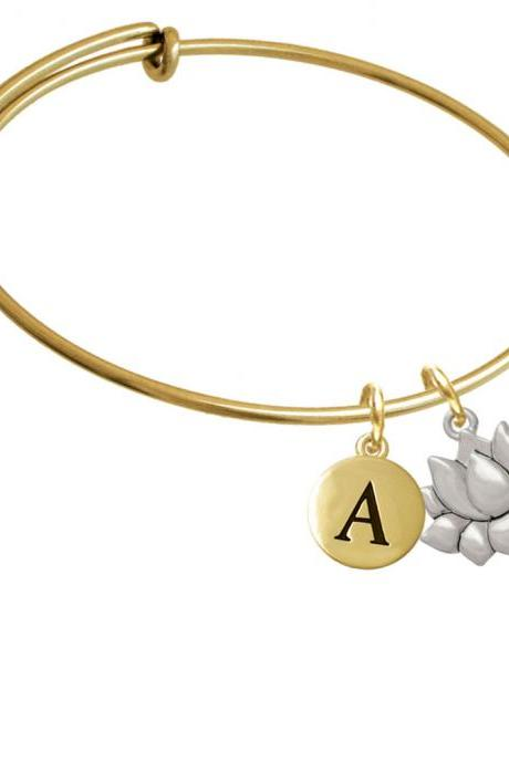 Medium Lotus Flower Gold Tone Initial Charm Expandable Bangle Bracelet BR-C5830-PebbleInitial-F2084-GP