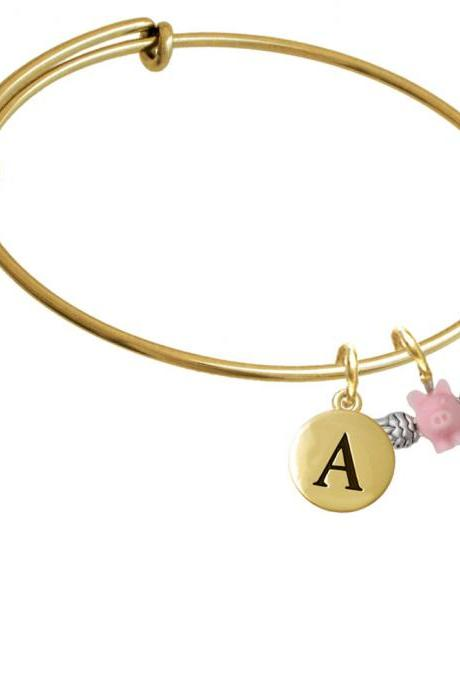 Mini Pink Flying Pig Gold Tone Initial Charm Expandable Bangle Bracelet BR-C5834-PebbleInitial-F2084-GP