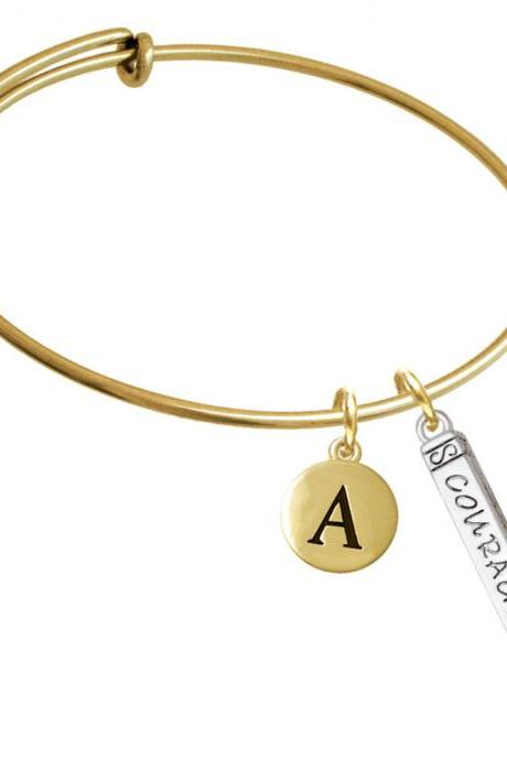Courage Strength Wisdom Honesty - Bar Gold Tone Initial Charm Expandable Bangle Bracelet BR-C5870-PebbleInitial-F2084-GP