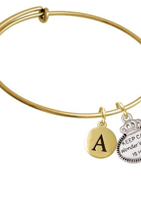 Keep Calm Wonder Woman is Here Gold Tone Initial Charm Expandable Bangle Bracelet BR-C5928-PebbleInitial-F2084-GP