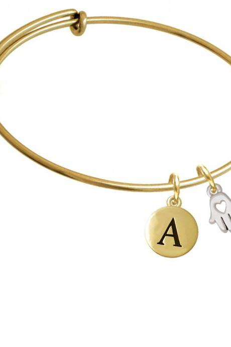 Small Heart Hamsa Hand Gold Tone Initial Charm Expandable Bangle Bracelet BR-C5938-PebbleInitial-F2084-GP