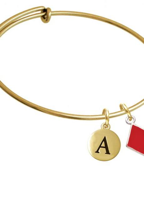 Card Suit - Red Diamond Gold Tone Initial Charm Expandable Bangle Bracelet BR-C5953-PebbleInitial-F2084-GP