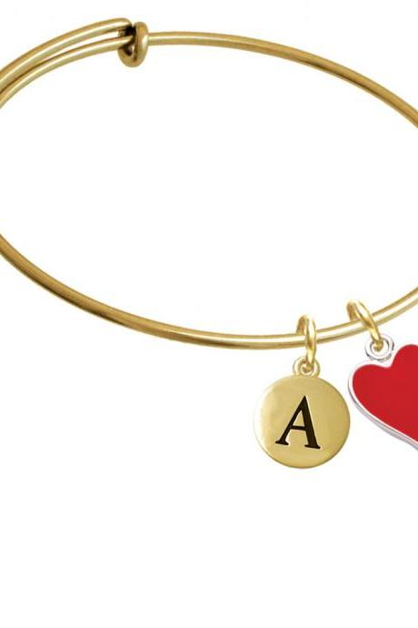 Card Suit - Red Heart Gold Tone Initial Charm Expandable Bangle Bracelet BR-C5954-PebbleInitial-F2084-GP