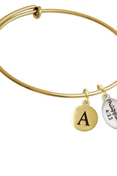 Bible Verse Philippians 4:13 Gold Tone Initial Charm Expandable Bangle Bracelet BR-C5965-PebbleInitial-F2084-GP