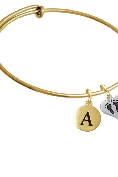 Small Heart with Baby Feet Gold Tone Initial Charm Expandable Bangle Bracelet BR-C5967-PebbleInitial-F2084-GP