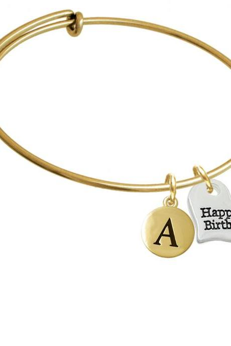 Large Happy Birthday Heart Gold Tone Initial Charm Expandable Bangle Bracelet BR-C5975-PebbleInitial-F2084-GP