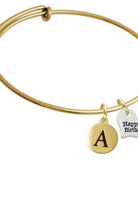 Small Happy Birthday Heart Gold Tone Initial Charm Expandable Bangle Bracelet BR-C5976-PebbleInitial-F2084-GP